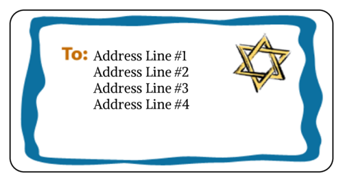 "OL125 - 4"" x 2"" - Star of David Address Label"
