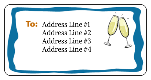 "OL125 - 4"" x 2"" - New Years Champagne Address Label"