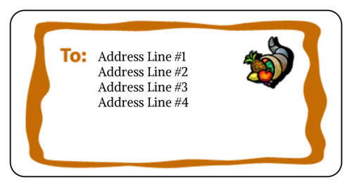 "OL125 - 4"" x 2"" - Thanksgiving Cornucopia Address Label"