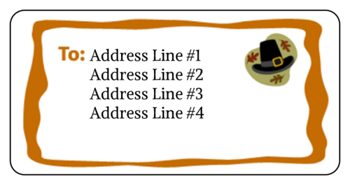 "OL125 - 4"" x 2"" - Thanksgiving Pilgrim Address Label"