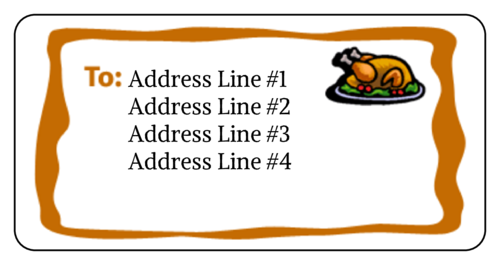 "OL125 - 4"" x 2"" - Thanksgiving Turkey Address Label"