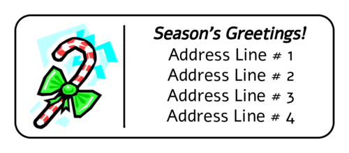 "OL875 - 2.625"" x 1"" - Candy Cane Address Label"