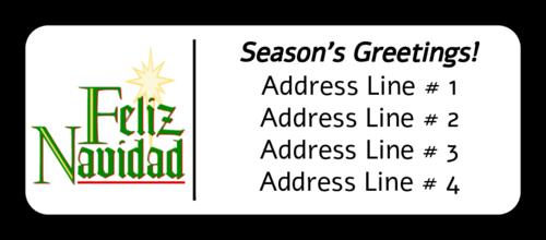 """OL875 - 2.625"""" x 1"""" - Feliz Navidad Address Label"""