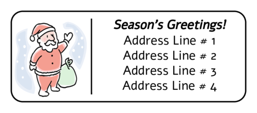 "OL875 - 2.625"" x 1"" - Christmas Santa Address Label"