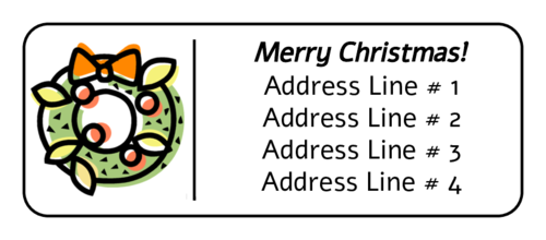 "OL875 - 2.625"" x 1"" - Christmas Wreath Address Label"