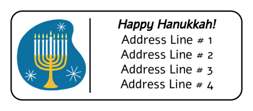 "OL875 - 2.625"" x 1"" - Hanukkah Menorah Address Label"