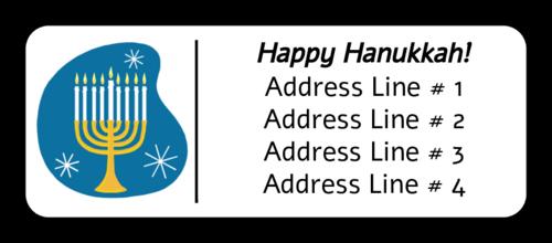 "OL875 - 2.625"" x 1"" - Hanukkah Menorah Address Label"