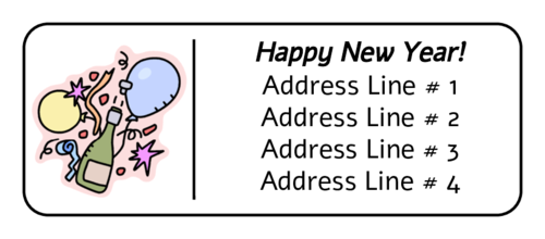 "OL875 - 2.625"" x 1"" - New Years Celebration Address Labels"