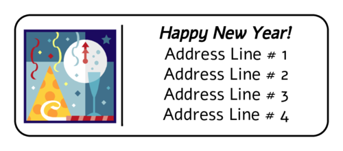 "OL875 - 2.625"" x 1"" - New Years Celebration Address Label"