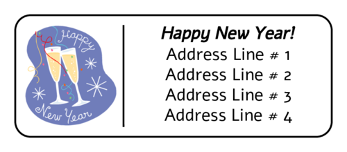 "OL875 - 2.625"" x 1"" - New Years Champagne Address Label"