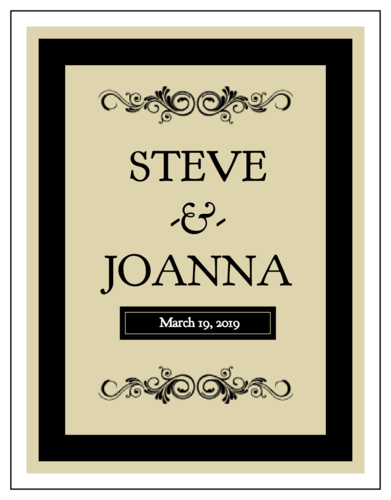 OL450 425 x 55 Black Wine Bottle Wedding Label