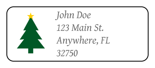 "OL875 - 2.625"" x 1"" - Christmas Tree Address Label"