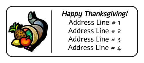 "OL875 - 2.625"" x 1"" - Thanksgiving Cornucopia Address Label"
