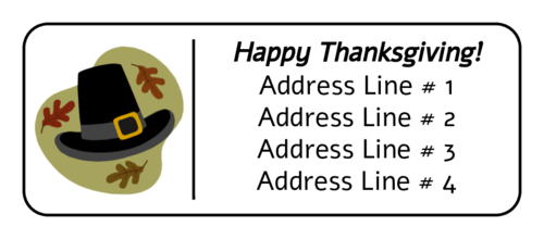 "OL875 - 2.625"" x 1"" - Thanksgiving Pilgrim Hat Address Label"