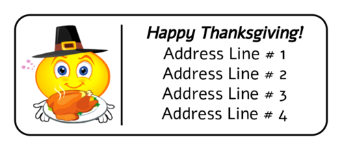 Thanksgiving Smiley Pilgrim Address Label pre-designed label template for OL875