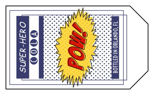 "OL1763 - 1.75"" x 3"" - Pow! Super Hero Cola Bottle Label"