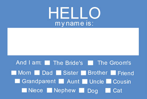 "OL5030 - 3.375"" x 2.3125"" - Hello My Name Is Wedding Name Tag - Rehearsal Dinner Name Tag"