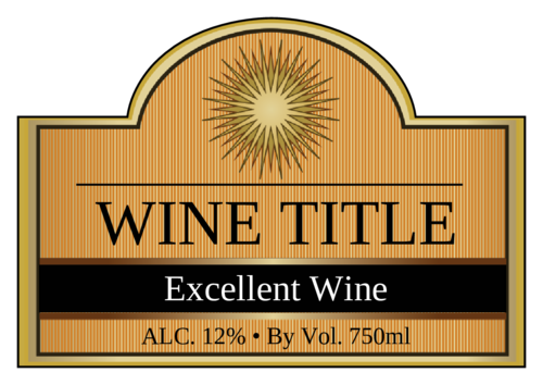 Solar Fire Wine Bottle pre-designed label template for OL544