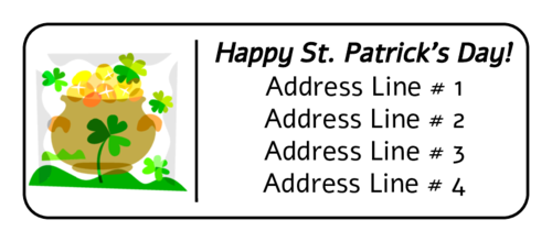 "OL875 - 2.625"" x 1"" - St. Patrick's Day - Pot of Gold Free Address Labels"