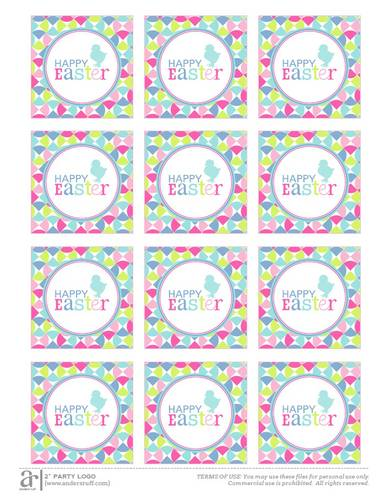 Happy Easter Printable pre-designed label template for OL713