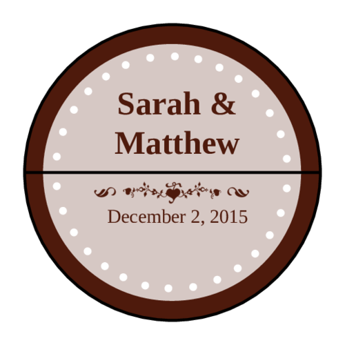 Center Colonial Cocoa Wedding Envelope Seal Label