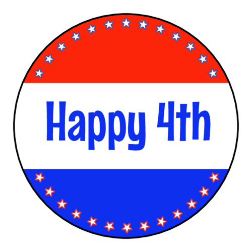 "OL5375 - 2"" Circle - Happy 4th Printable with 13 Stars - Perfect For Cupcake Toppers"