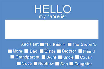 "OL5030 - 3.375"" x 2.3125"" - Hello My Name Is Wedding Name Tag - Rehearsal Dinner Name Tag Version 2"
