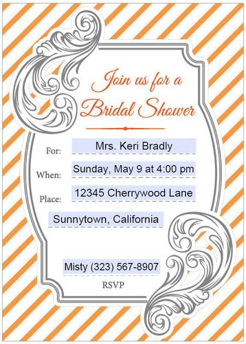 "OL267 - 8.5"" x 11"" - Bridal Shower Invitations (Editable) Orange & Gray"