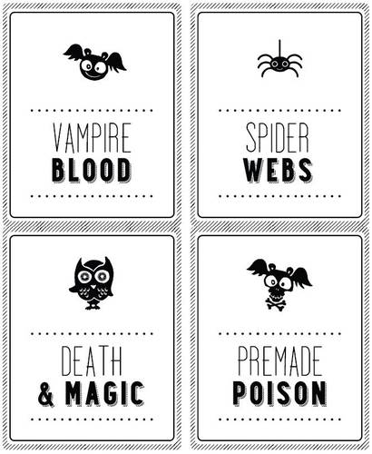 Kid-friendly spooky label templates for party 2-liter sodes on Halloween