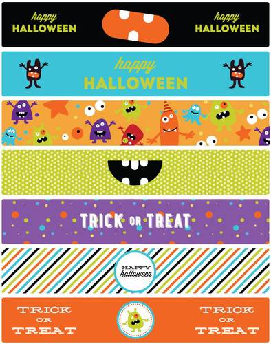 "OL435 - 8.1875"" x 1.375"" - Halloween Water Bottle Labels Printable Monster Mash Theme"
