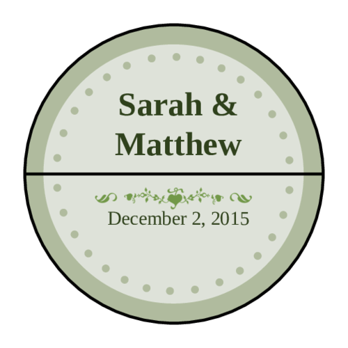 Colonial - Pistachio Wedding Envelope Seal Label pre-designed label template for OL158