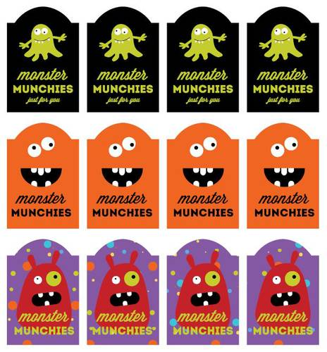 photo about Printable Halloween Labels identified as Monster Munchies Printable Labels for Halloween Snacks