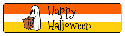 "OL75 - 4"" x 1"" - Happy Halloween Lollipop Stick Flag Labels"