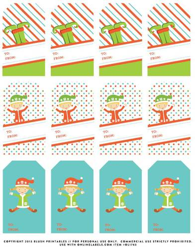 To and From Christmas Gift Tag Labels - Label Templates - OL1763 ...