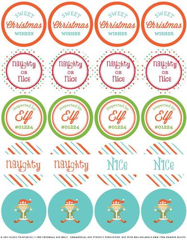 "OL5375 - 2"" Circle - Christmas Elf Assorted Printable Round Stickers"