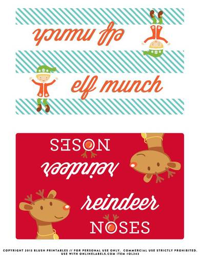 Christmas Bag Toppers Label Printable for Elf Munch pre-designed label template for OL243