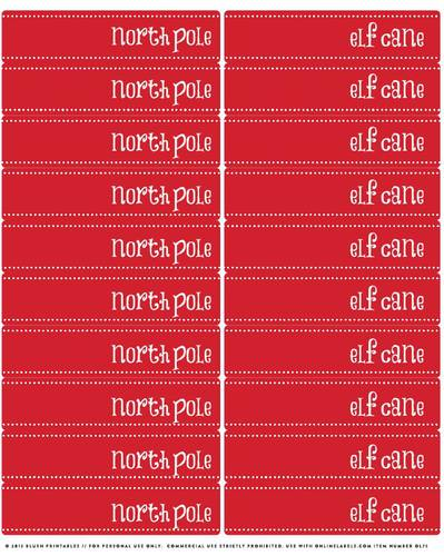 North Pole  & Elf  Candy Cane Flags Printable Label