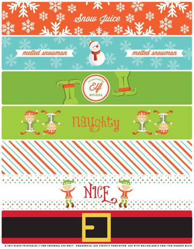 "OL435 - 8.1875"" x 1.375"" - Assorted Christmas Themed Water Bottle Labels Printable"