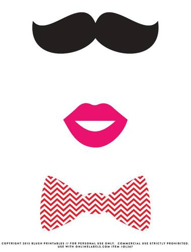 Mustache, Bow Tie, Kissy lips Photo Booth Printable Props - Label ...