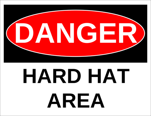 "OL175 - 8.5"" x 11"" - Danger - Hard Hat Area Label"