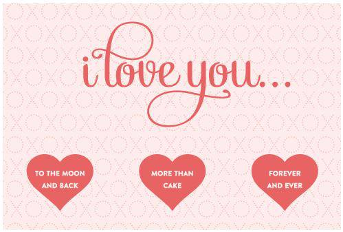 I Love You Printable Cards With Hearts pre-designed label template for OL243