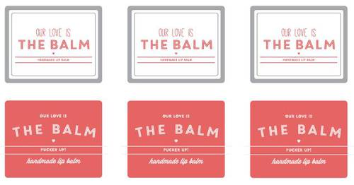 "OL421 - 2.125"" x 1.6875"" - Our Love Is The Balm (Pucker Up) Lip Balm Labels Printable"