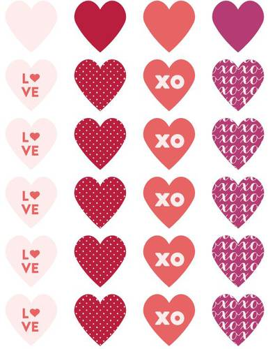 "OL1330 - 1.5"" x 1.5"" - Assorted Heart Label Designs Free Printable"