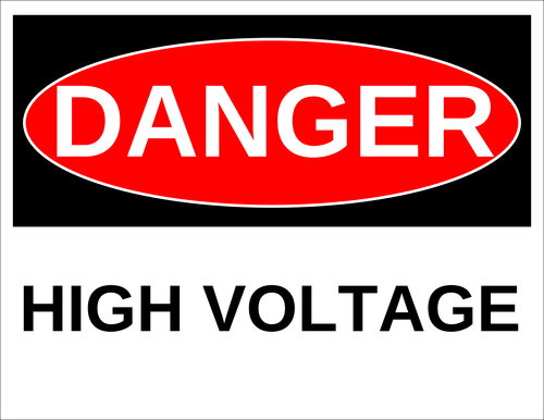 "OL175 - 8.5"" x 11"" - Danger - High Voltage Label"