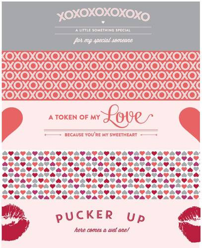 "OL1159 - 8"" x 2"" - Water Bottle Labels for Valentine's Day Assorted Printables"