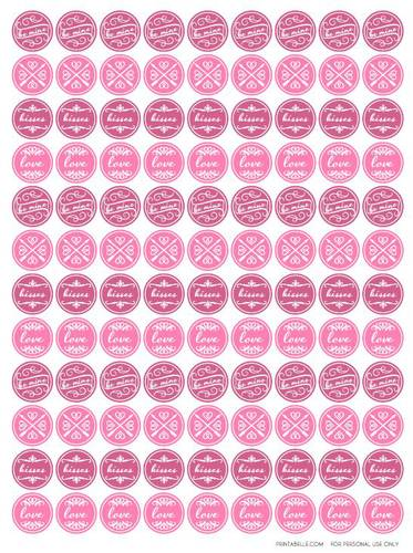 "OL5275 - 0.75"" Circle - Valentine's Pink Kiss Printable Labels"