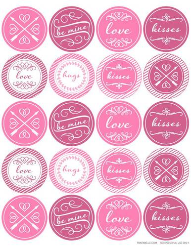 "OL5375 - 2"" Circle - Round Valentine's Day Themed Printable Label Design"