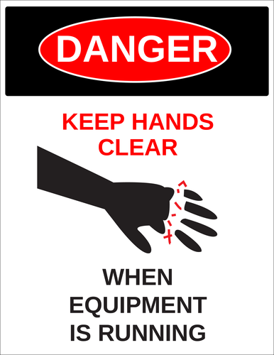 "OL175 - 8.5"" x 11"" - Danger - Keep Hands Clear Label"