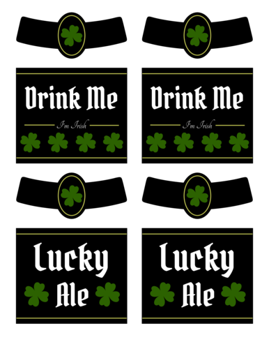 "OL3078 - 3.4999"" x 2.9999"" Beer - Irish Beer Labels Printable for St. Patrick's Day"