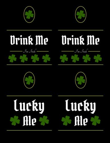 "OL3078 - 3.4999"" x 2.9999"" Beer - Irish Beer Labels Printable for St. Patrick"
